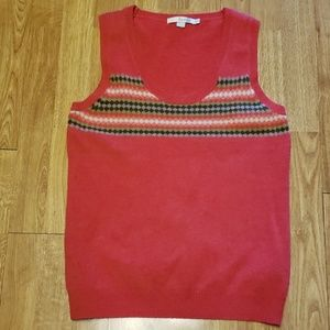 Boden 100% wool coral fair isle sweater vest sz 8